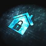 Safety concept: Home on digital background